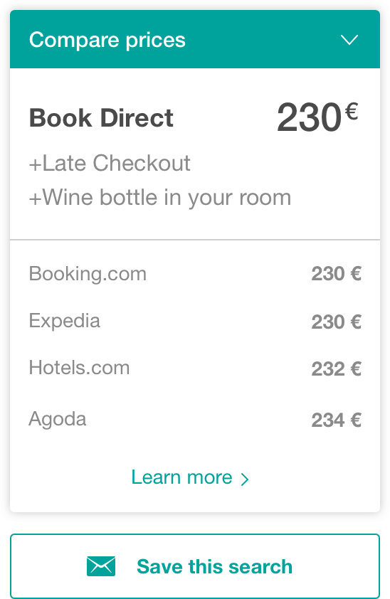 price check comparison widget - The Hotels Network