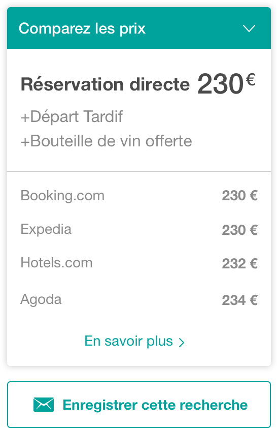 comparateur prix widget - The Hotels Network